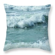 Surf At Duckpool Cornwall Throw Pillow