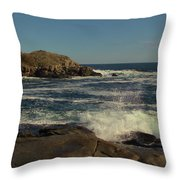 Surf At Nubble Light Throw Pillow