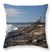 Surf At Pemaquid Light Throw Pillow