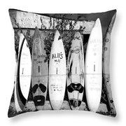 Surf Board Fence Maui Hawaii Square Format Throw Pillow