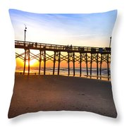 Surf City Fishing Pier Throw Pillow