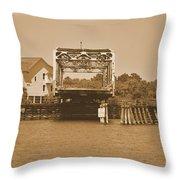 Surf City Vintage Swing Bridge In Sepia 1 Throw Pillow
