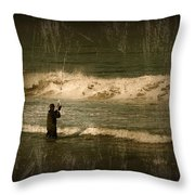 Surf Fisherman - Jersey Shore Throw Pillow