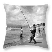 Surf Fishing At Ocean Beach Throw Pillow