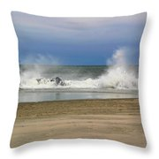 Surf Hitting Rocks 2 Throw Pillow