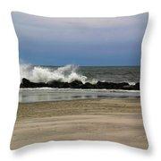 Surf Hitting Rocks 3 Throw Pillow