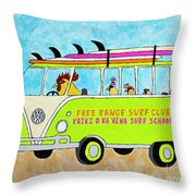 Surf School Throw Pillow