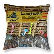 Surf This Tiki Hut Throw Pillow