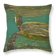 Surfacing Seaturtle Throw Pillow