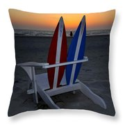 Surfboard Chair Sunset Throw Pillow