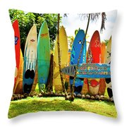 Surfboard Fence II-the Amazing Race Throw Pillow