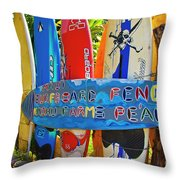 Surfboard Fence-the Amazing Race  Throw Pillow