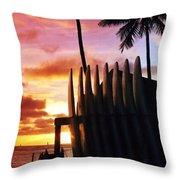 Surfboard Sunset Throw Pillow