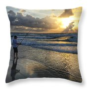 Surfcaster Sunrise Delray Beach Florida Throw Pillow