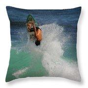 Surfer Action Hawaii Throw Pillow