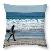 Surfer And His Board Throw Pillow
