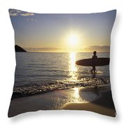 Surfer At Sunrise Throw Pillow by Ali ONeal - Printscapes