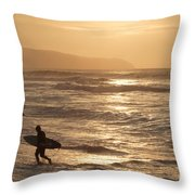 Surfer At Sunset Throw Pillow