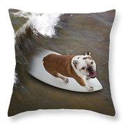 Surfer Dog Throw Pillow