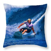 Surfer Dude Catching A Wave Throw Pillow