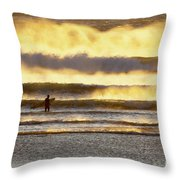 Surfer Faces Wind And Waves, Morro Bay, Ca Throw Pillow