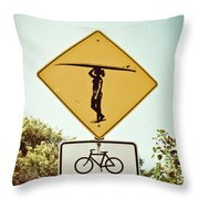 Surfer Girl Throw Pillow