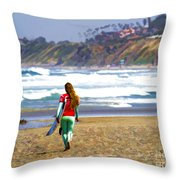 Surfer Girl At Seaside, Ca Throw Pillow