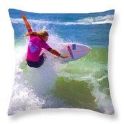Surfer Girl Taking Flight Throw Pillow