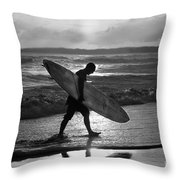 Surfer Heading Home Throw Pillow
