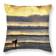 Surfer Heads Into The Waves And Mist Throw Pillow