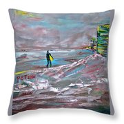 Surfer On A Foggy Day Throw Pillow