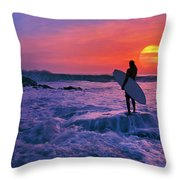Surfer On Rock Looking Out From Blowing Rocks Preserve On Jupiter Island Throw Pillow