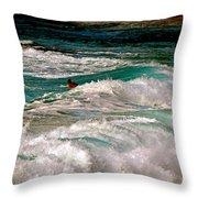 Surfer On Surf, Sunset Beach Throw Pillow