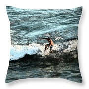 Surfer On Wave Throw Pillow
