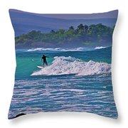 Surfer Rides The Outside Break Throw Pillow