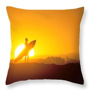 Surfer Silhouetted At Sun Throw Pillow