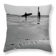Surfer Silhouettes Throw Pillow