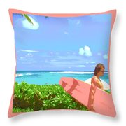 Surfer Walking By Throw Pillow