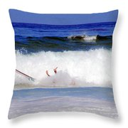 Surfers At Asilomar State Beach Three Oopsy Daisy Throw Pillow