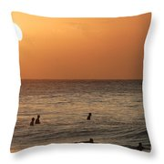 Surfers At Sunset Throw Pillow
