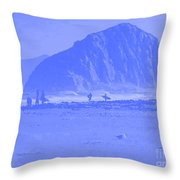 Surfers On Morro Rock Beach In Blue Throw Pillow