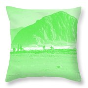 Surfers On Morro Rock Beach In Green Throw Pillow