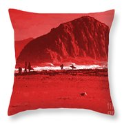 Surfers On Morro Rock Beach In Red Throw Pillow