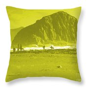 Surfers On Morro Rock Beach In Yellow Throw Pillow