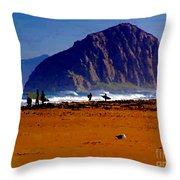 Surfers On Morro Rock Beach Throw Pillow
