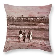 Surfers Three Throw Pillow