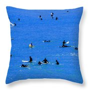 Surfers Waiting And Waiting Throw Pillow