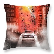 Surfing 5th Avenue Throw Pillow by Barry C Donovan
