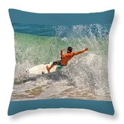Surfing Action  Throw Pillow