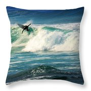 Surfing Asilomar Two Throw Pillow